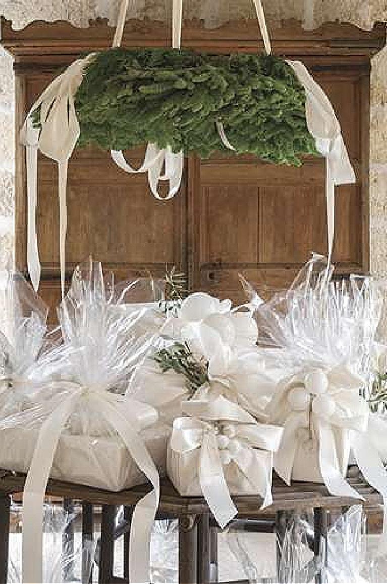 Lovely white Christmas gifts wrapped in silk and cellophane - Pamela Pierce for Milieu magazine. #whitechristmasdecor #giftwrapping #elegantholiday #milieumag #pamelapierce