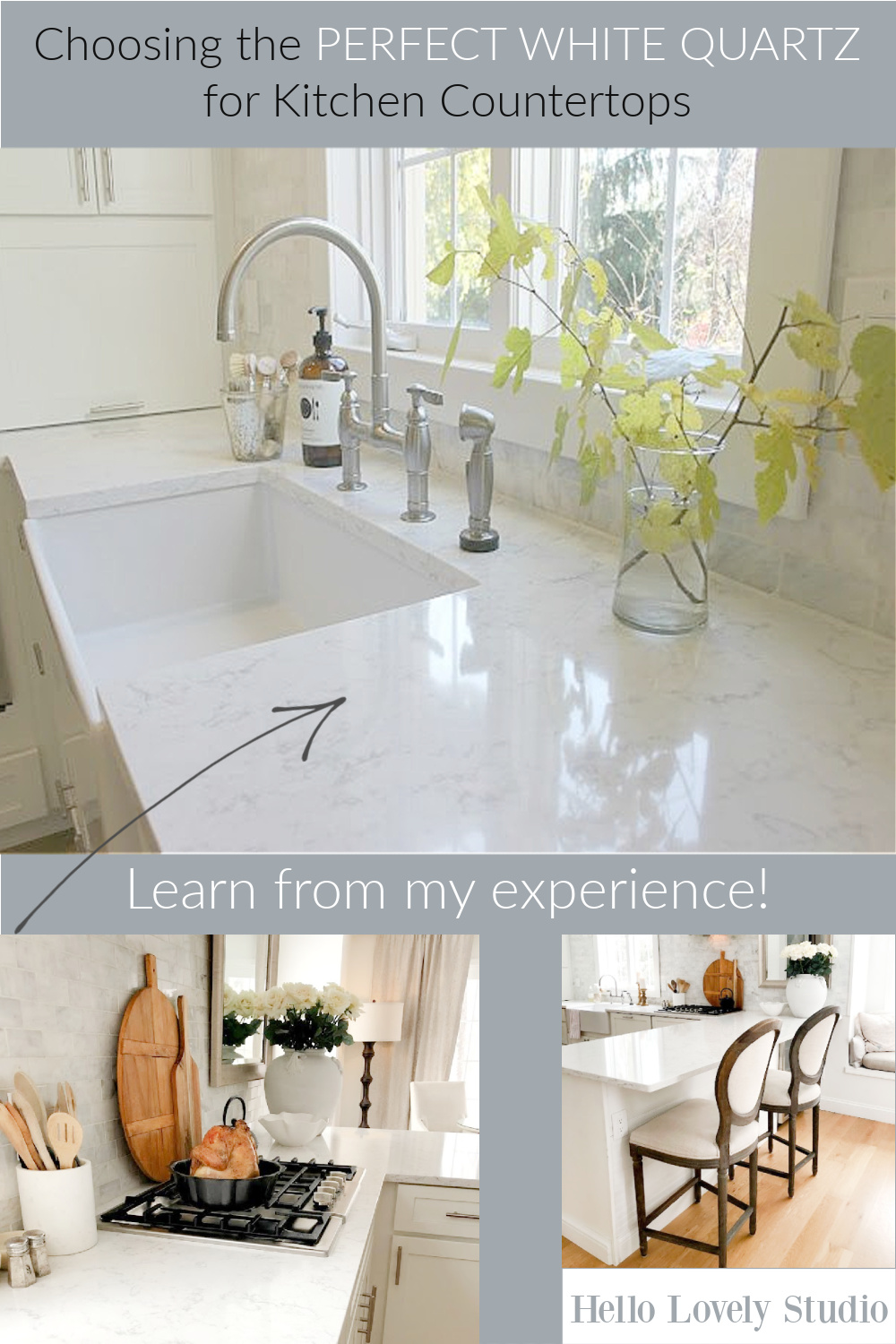 Choosing the perfect whit equartz for kitchen countertops - come find all the help you need on Hello Lovely Studio. #quartz #quartzcountertops #kitchendesign #whitequartz