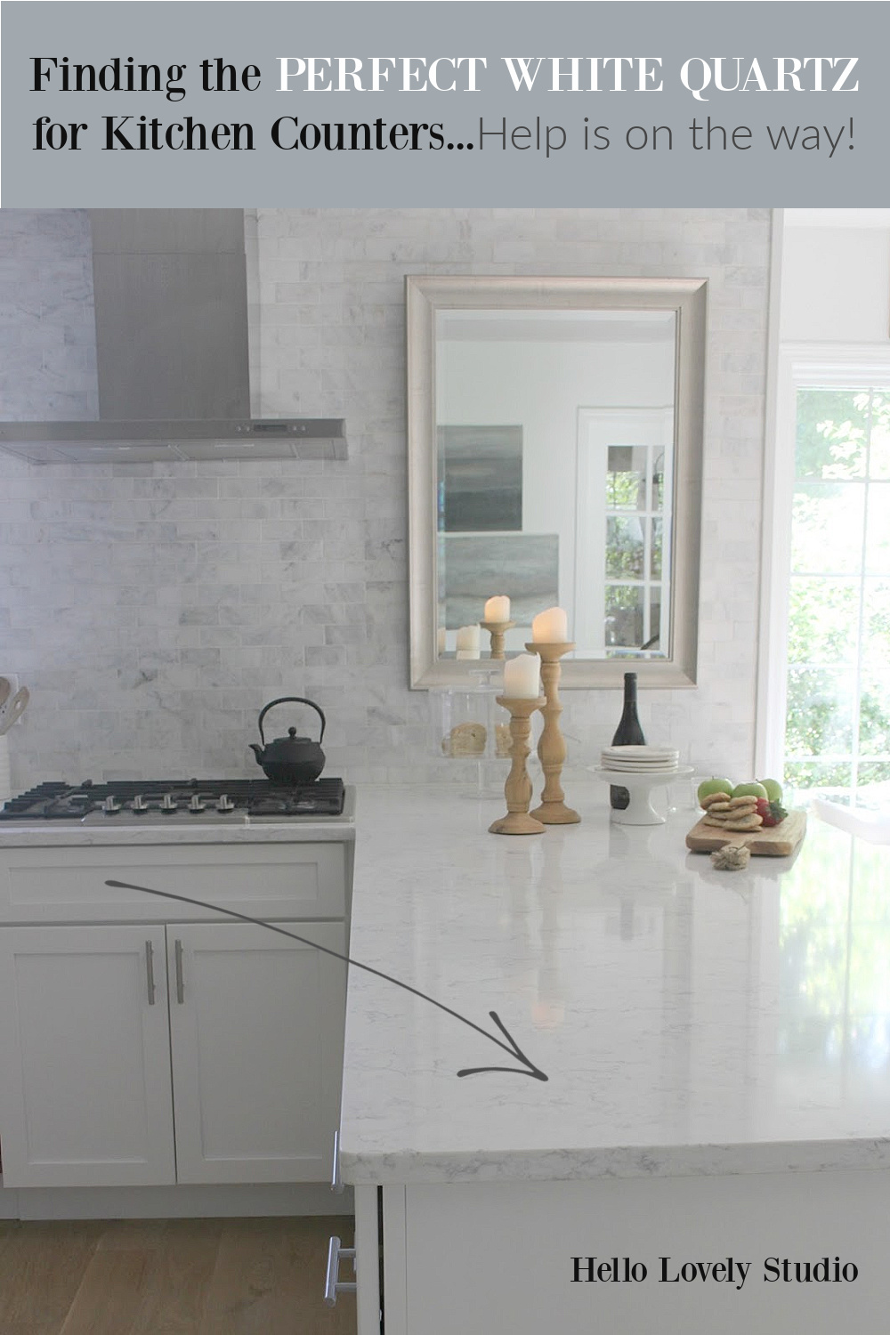 Finding the perfect white quartz for kitchen counters just got a whole lot easier with help from Hello Lovely Studio. #whitequartz #quartzcounters #kitchendesign
