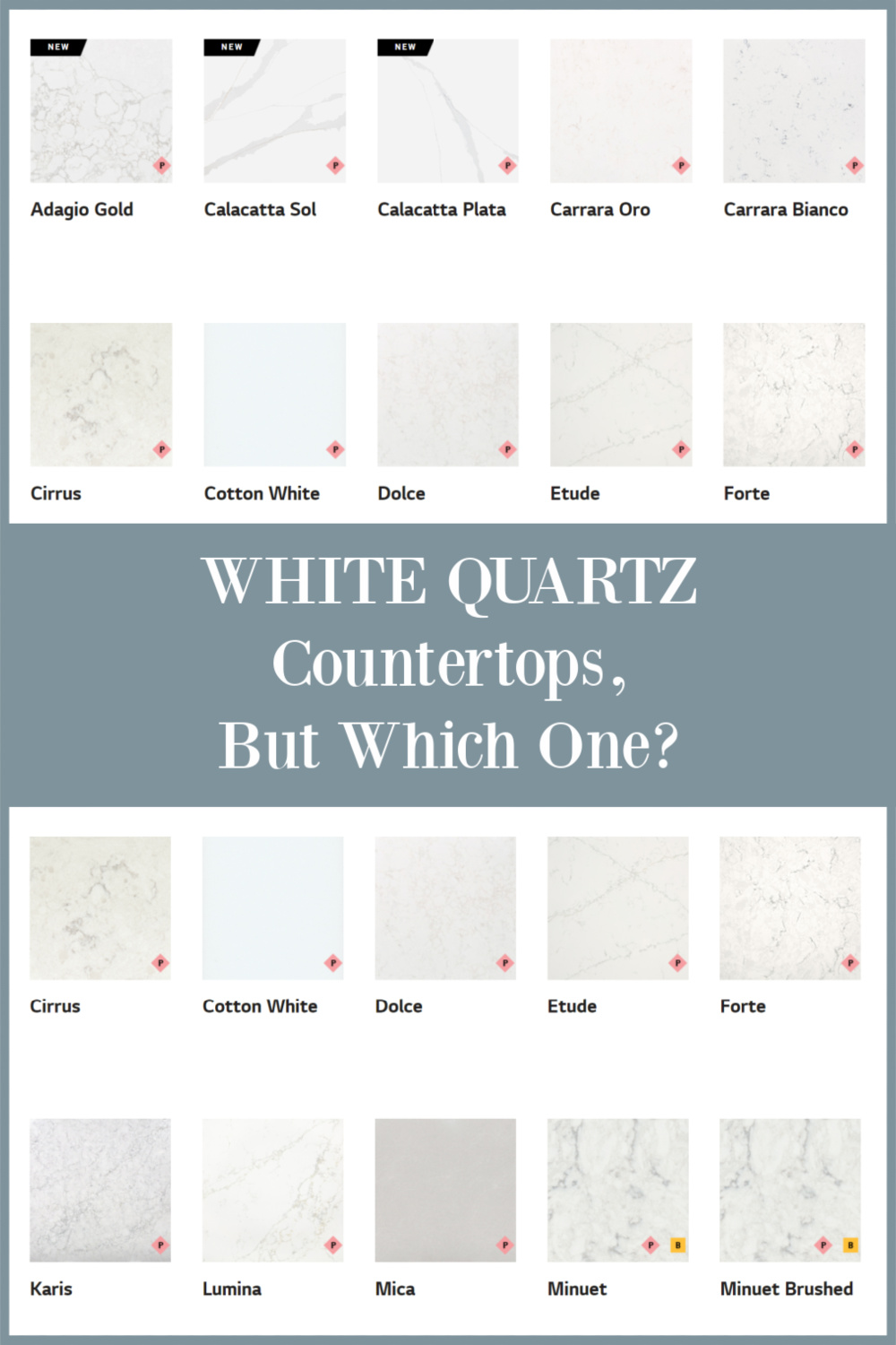 White quartz countertops, but which one - find the answers and inside scoop on Hello Lovely. #whitequartzcountertops #whitequartz #kitchencounters
