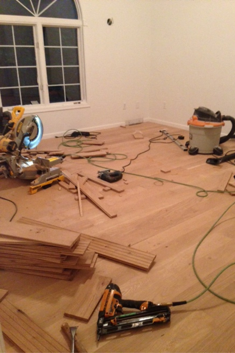 before pic of hardwood going in