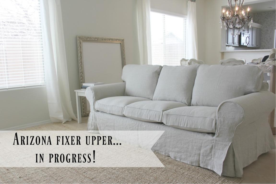 Bemz slipcover for Ektorp Ikea Sofa - Hello Lovely Studio. #bemz #slipcovers #sofaslipcovers #belgianlinen #ektorpsofa #ikeaektorp