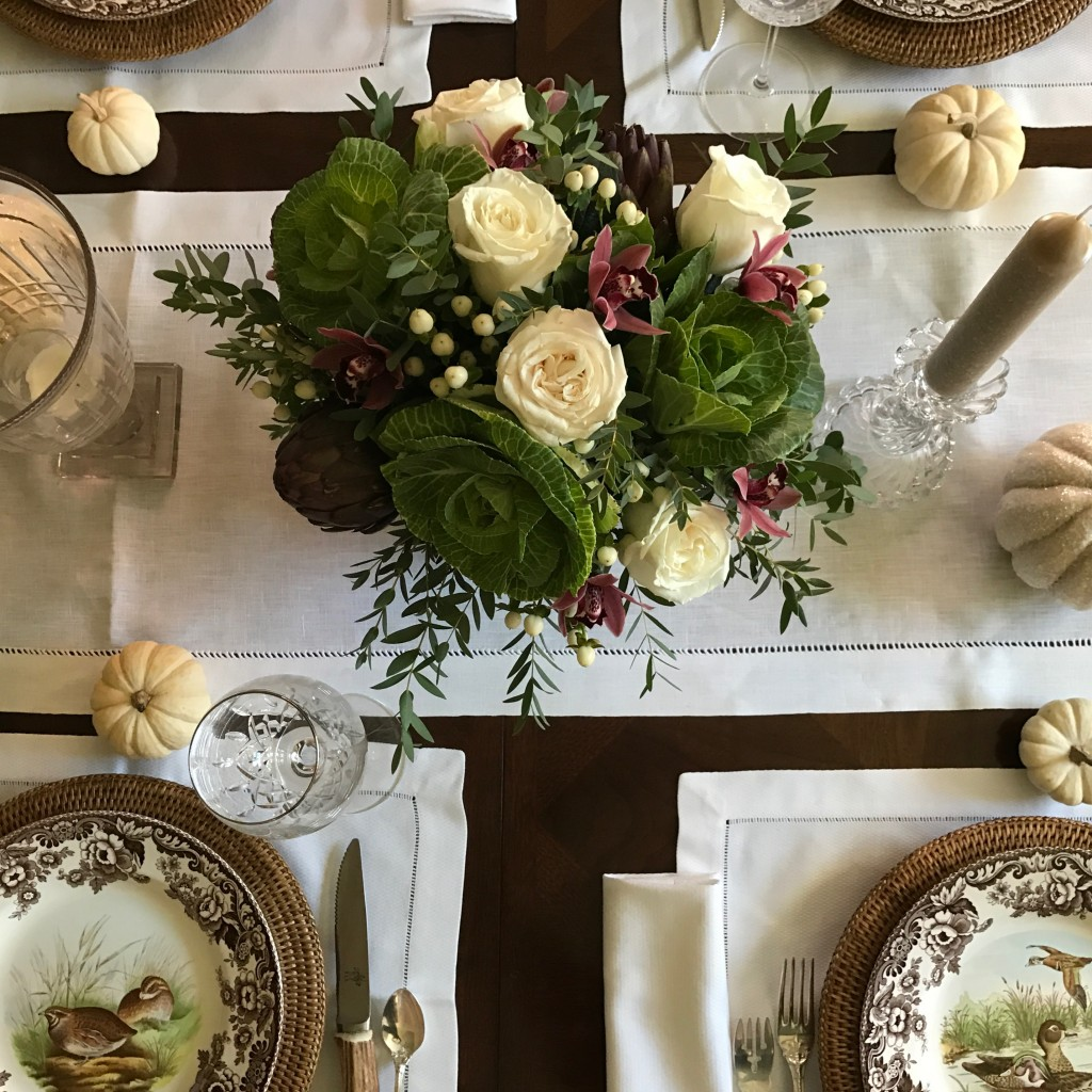 White roses in fall floral arrangement