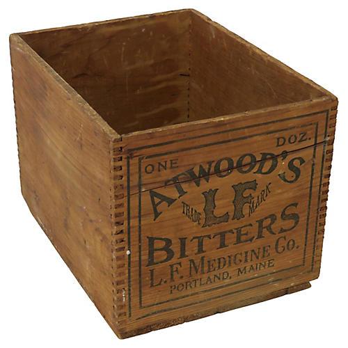 Antique Qtwood's Bitters Wood Box