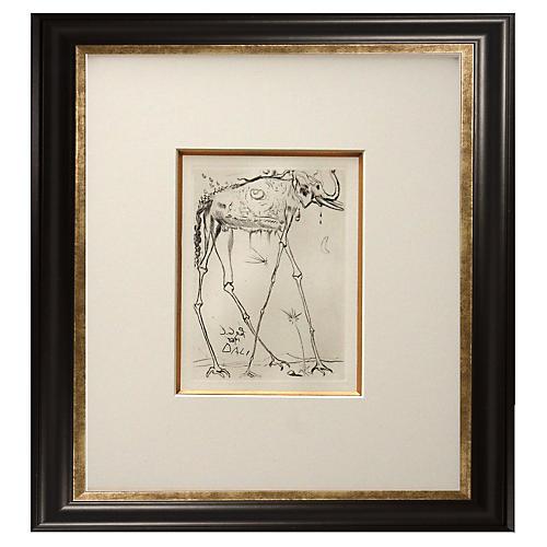 Framed Dali Print of Elephant
