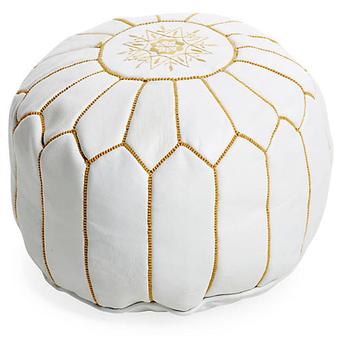 Moroccan Leather Pouf Ottoman White