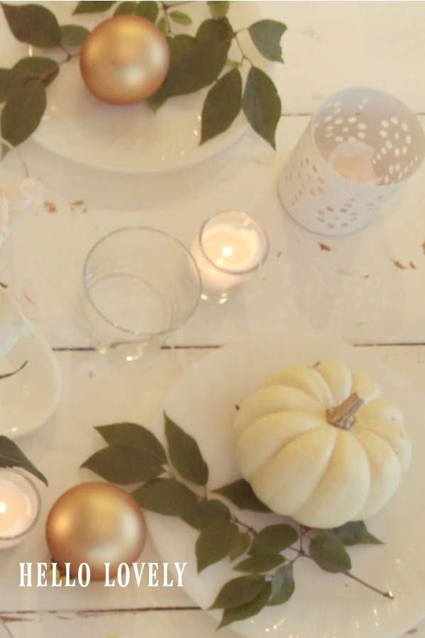 Quiet white, green, and gold on a Thanksgiving farm table