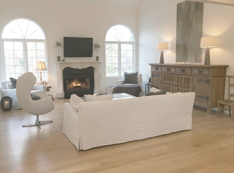 Belgian style modern farmhouse living room by Hello Lovely Studio