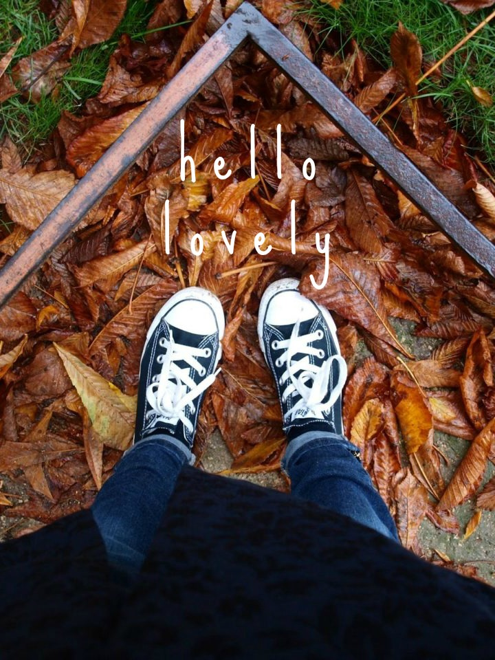 Converse in fallen red leaves in a Paris park. Hello Lovely Studio. Come get Inspiring Autumn Feels From Instagrammers to Follow + Encouragement Quotes!