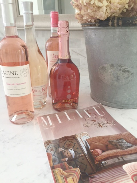 Milieu magazine and rose wines from #marthastewartwineco on my Minuet quartz countertop from #viatera. #kitchen #minuet #quartz