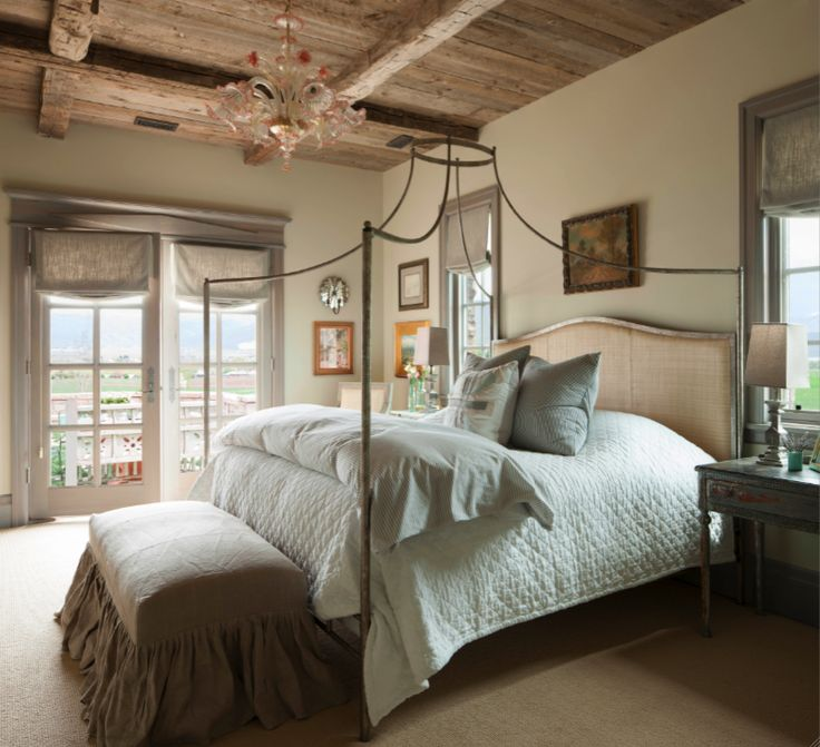 French Country bedroom with wood ceiling on Hello Lovely Studio