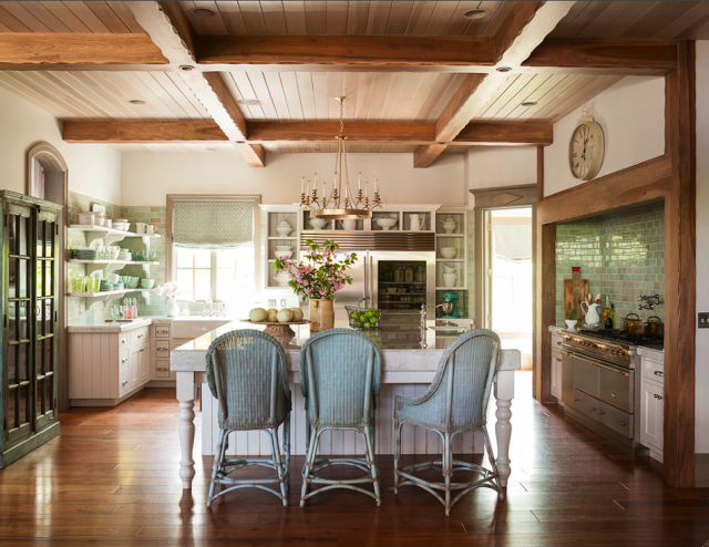 Stunning interior design and architecture in a French Nordic style kitchen with wood plank ceiling, aqua green accents, and warm #FrenchCountry style. Decor de Provence. #FrenchNordic #farmhousekitchen #Frenchfarmhouse #kitchendesign