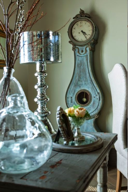 Blue Swedish mora clock in French Country style cottage on Hello Lovely Studio