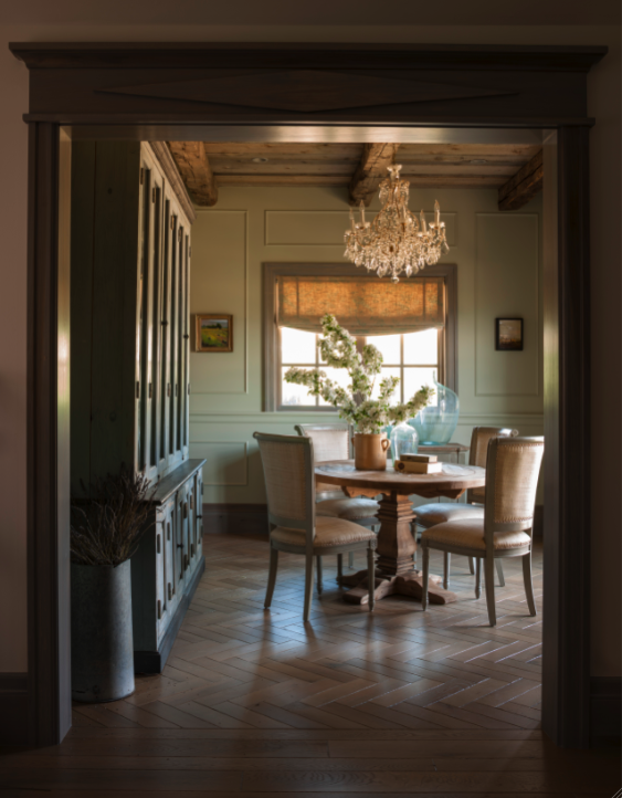 Herringbone floor in elegant French Country dining room on Hello Lovely