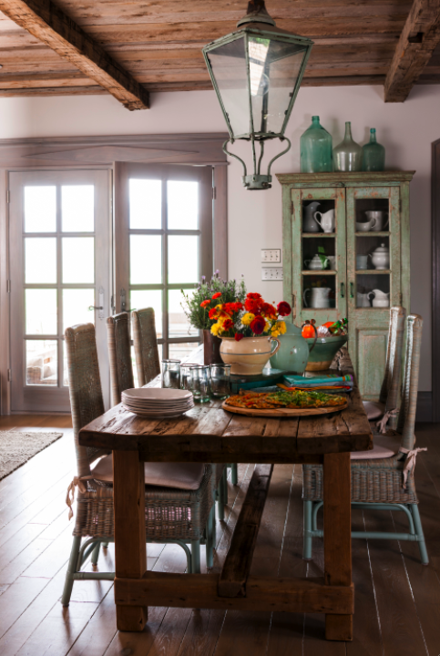Rustic French farmhouse style dining room with lantern on Hello Lovely Studio