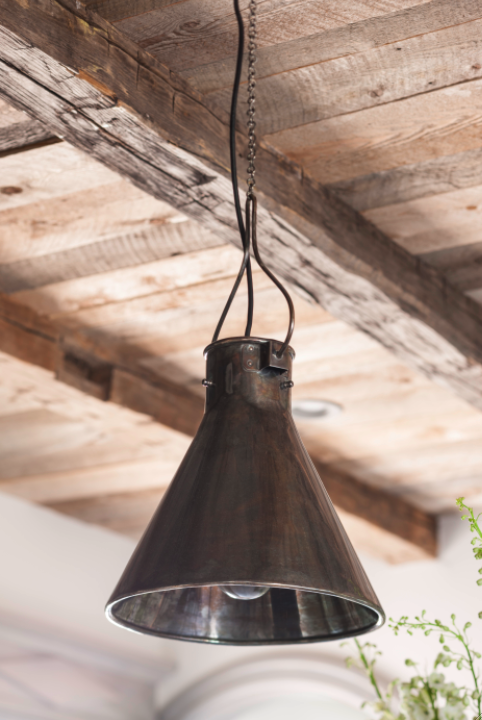 Rustic vintage pendant light and wood ceiling