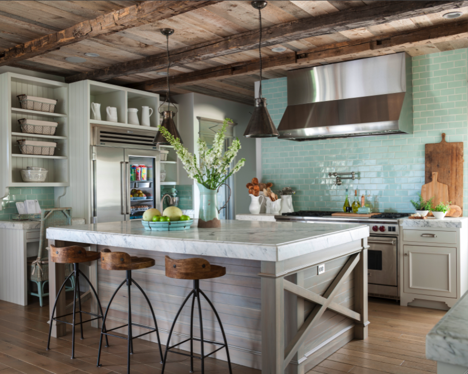 Rustic wood ceiling and aqua subway tile in French Country cottage kitchen on Hello Lovely