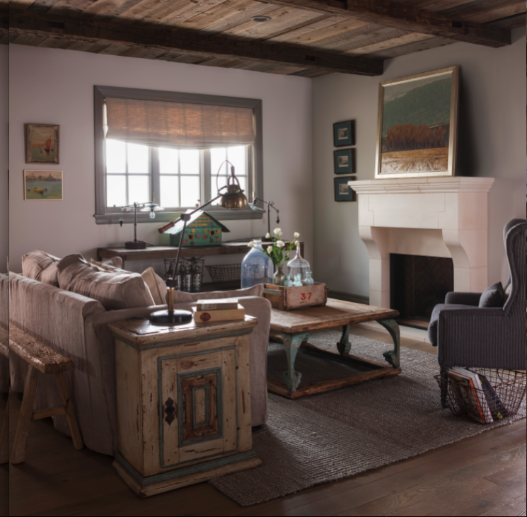 Rustic elegance in a French Country living room on Hello Lovely
