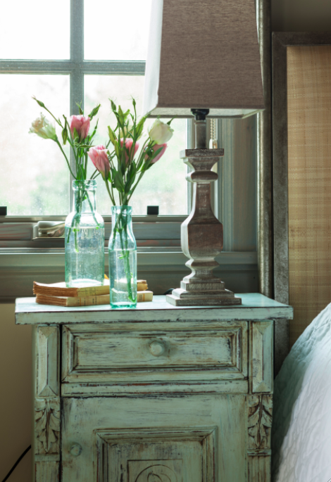 Rustic elegance with aqua accents in French Country bedroom on Hello Lovely