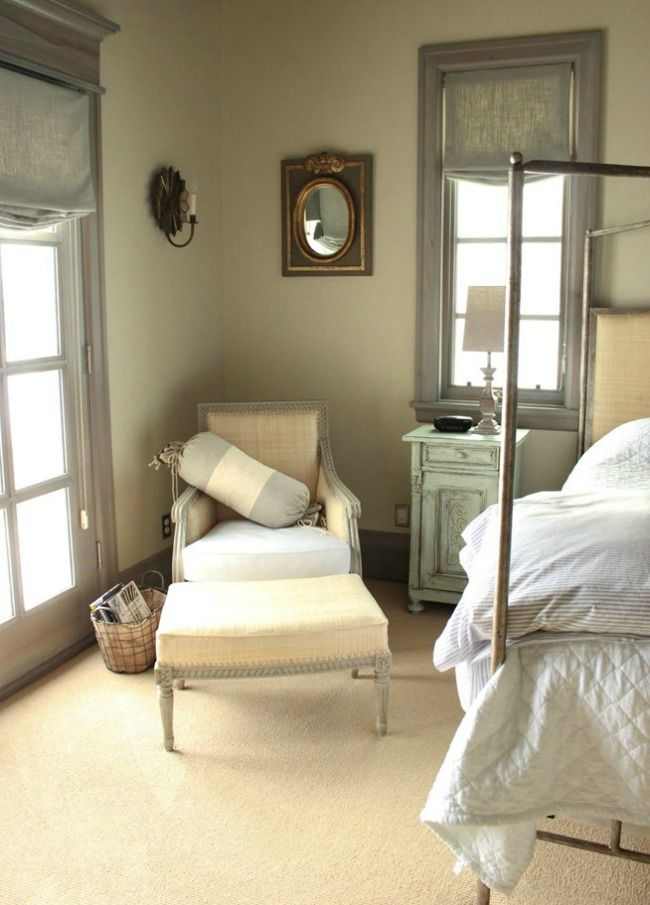 Antique armchair in French Country bedroom on Hello Lovely Studio