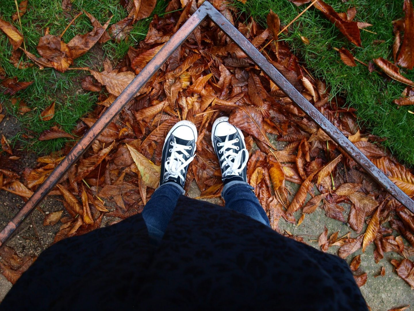 Black-converse-in-fall-leaves-in Paris-by Hello-Lovely-Studio