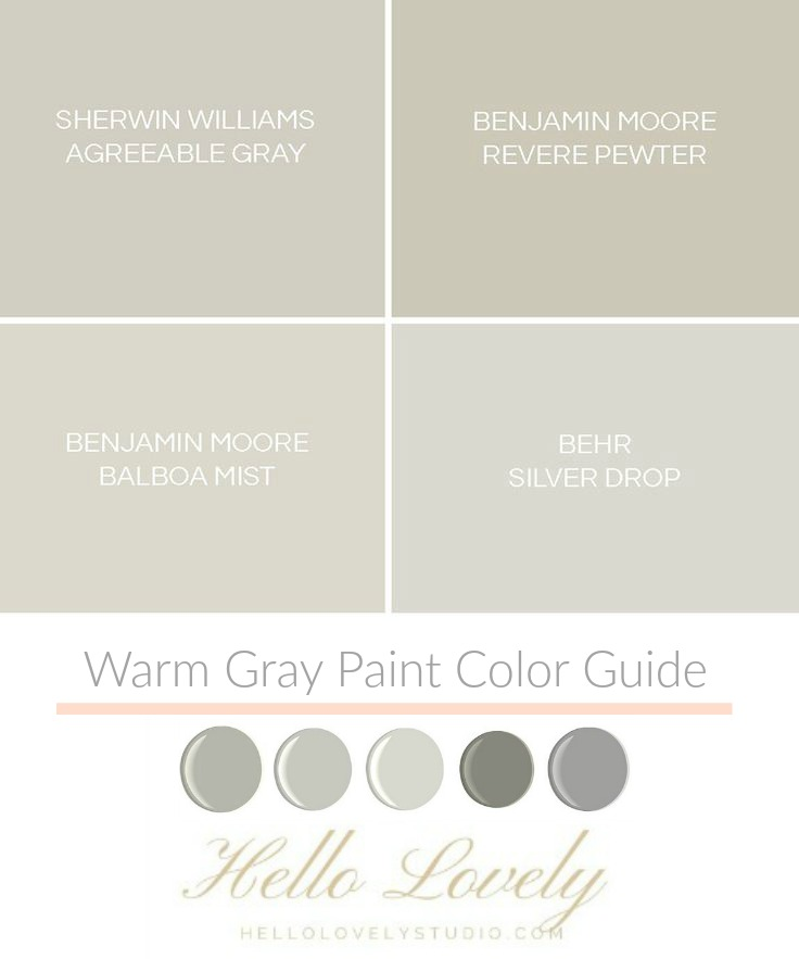 Warm gray paint color ideas from Hello Lovely Studio. Time to Paint Your Walls? Come discover a Refresher to Demystify the Process!