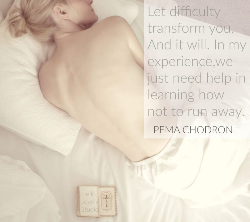 Michele of Hello Lovely Studio and #PemaChodron quote about difficulty and transformation #inspiringquote