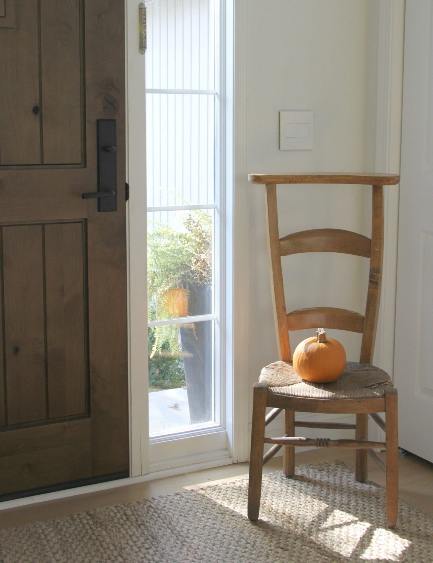 French prayer chair with orange fall pumpkin my entry - Hello Lovely Studio. Pretty Pumpkin Decor and Recipes [in case you're ready to FALL in Love With Autumn].