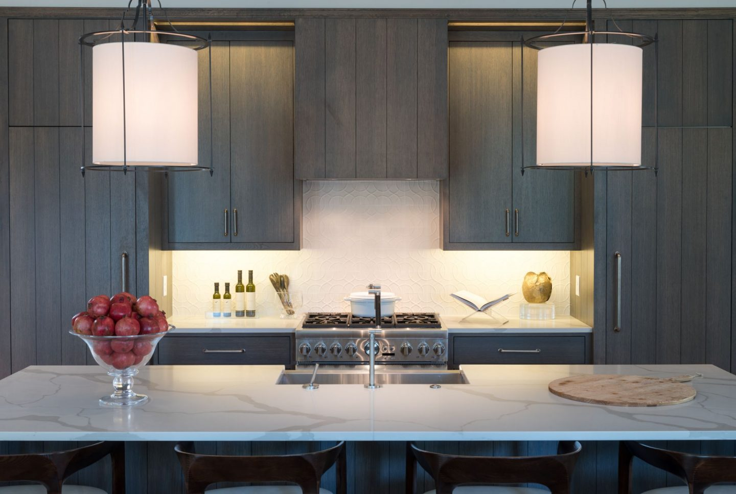 Moody modern farmhouse kitchen and scullery by Randi Stovesand for O'More Show House