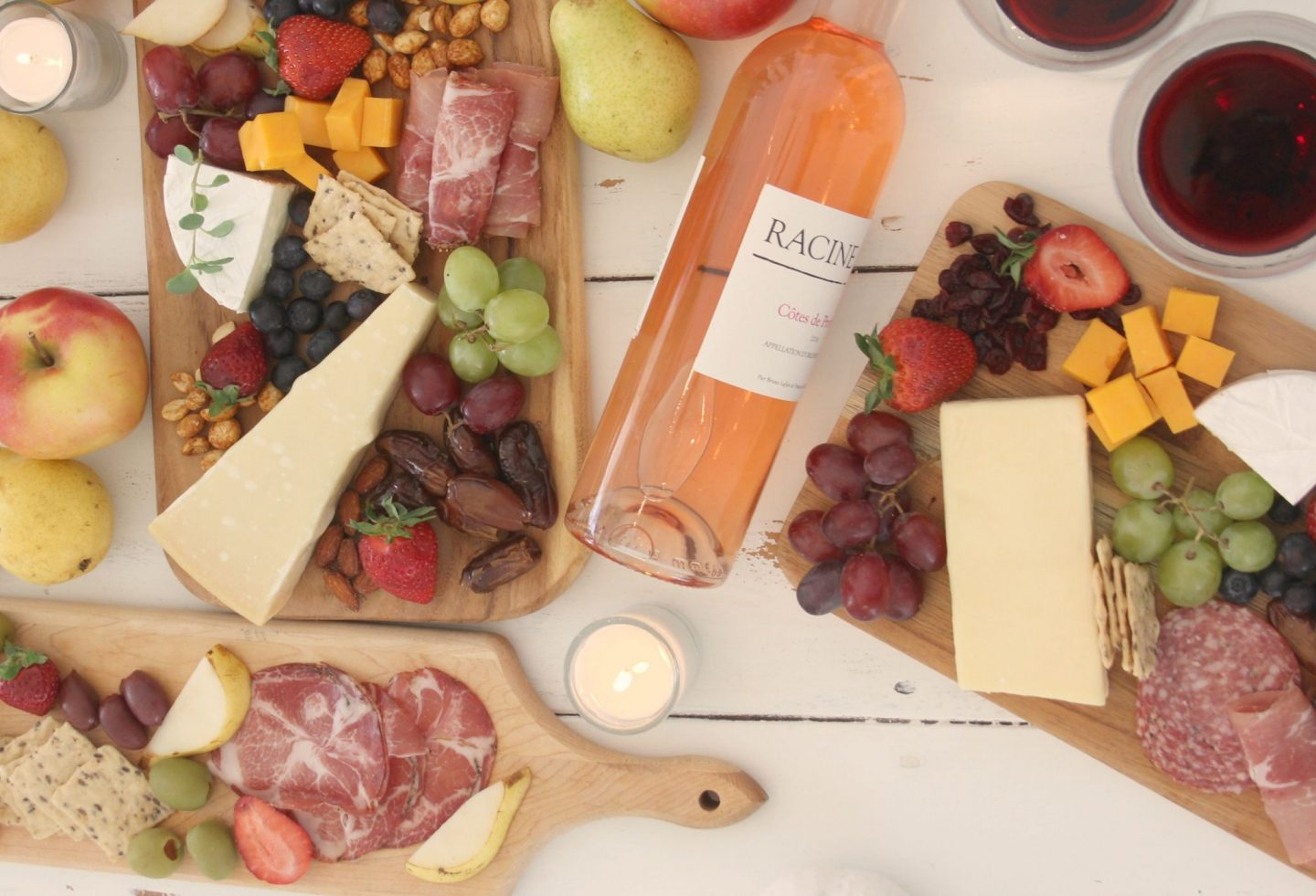 Gorgeous graze and cheese boards and charcuterie platters with wine for a party by Hello Lovely Studio