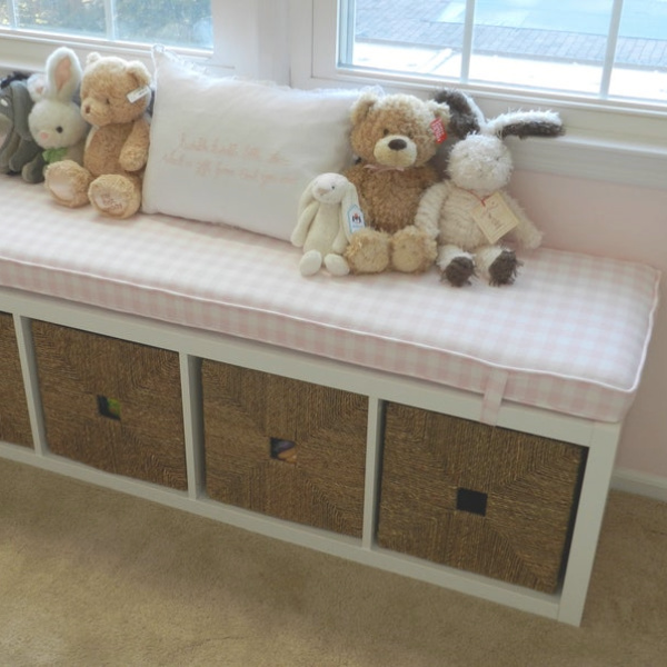 Kallax Ikea Hack inspiration for a banquette or bench in a kids room topped with a custom cushion from Hearth and Home Store. #kallaxhack #ikeahack #kallax #kallaxshelves #diy #banquette #kidsroom #bench #windowseat #ikeahacks #diy