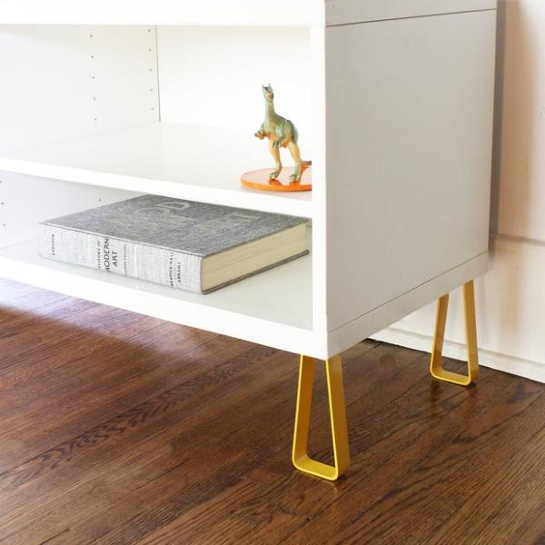 Kallax cabinet legs (to work with Besta cabinets and more Ikea cabinets) from Detroit River Supply on etsy. #kallaxhack #ikeakallax #customkallax #ikeahacks #diy