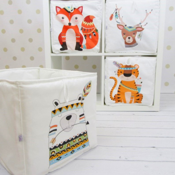 Whimsical and adorable Indian animal soft storage boxes for a nusery with Ikea Kallax storage - EnitkaLovelyBabyRoom on Etsy. #kallax #ikeahacks #kidsroom #nursery #storage #homedecor
