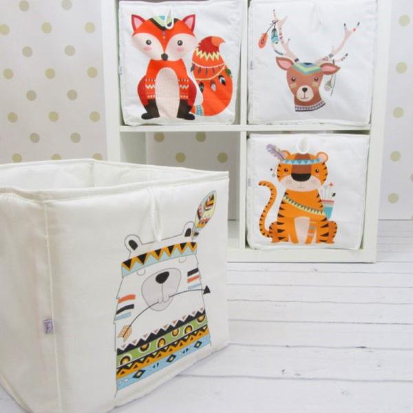 Whimsical and adorable Indian animal soft storage boxes for a nusery with Ikea Kallax storage - EnitkaLovelyBabyRoom on Etsy. #kallax #ikeahacks #kidsroom #nursery #storage #homedecor