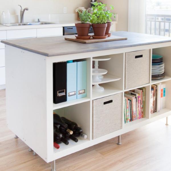 Ikea Kallax hack to create a kitchen island - Kreating Homes. #ikeahacks #kallaxhack #kallax #kitchenisland #diy