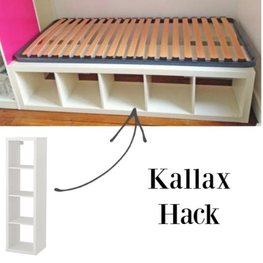 Kallax hack for a platform bed. #kallaxhacks #ikeahack #platformbed #kallax #bedroomdesign #diy