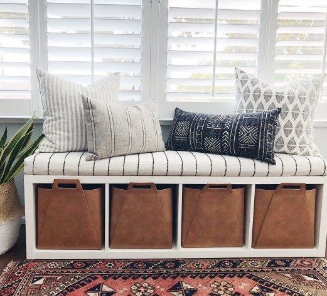 Windowseat bench or banquette made with an Ikea Kallax shelf - The Hearth and Haven. #ikeahack #kallax #kallaxhack #windowseat #banquette #ikeahacks #bench #diy