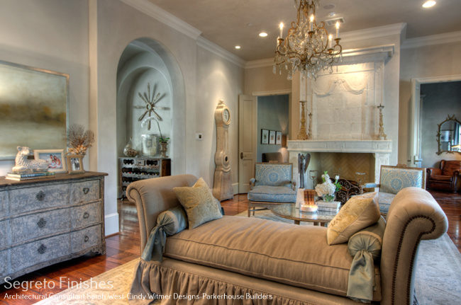 Beautiful plaster wall finish by Segreto in a romantic Old World French Country room