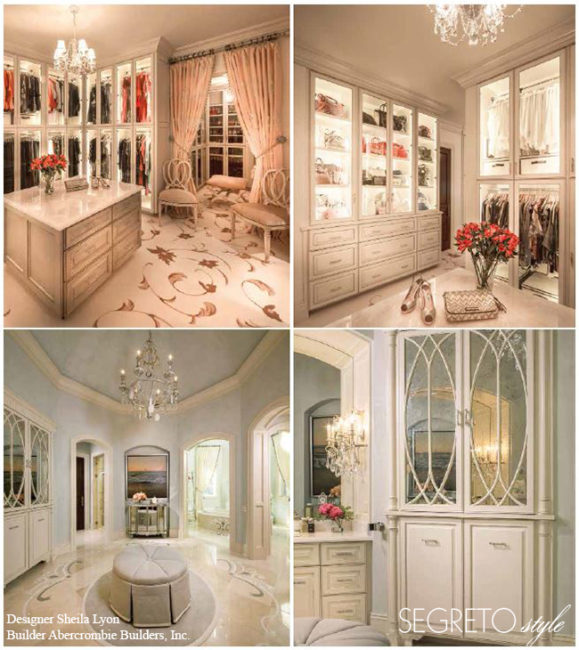 Incredible luxury closets by designer Sheila Lyon with finishes by Segreto