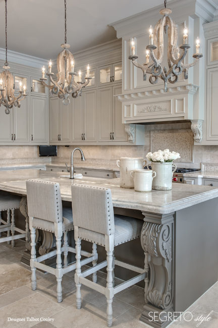 Sophisticated and elegant French Country kitchen with paint and plaster finishes by Segreto