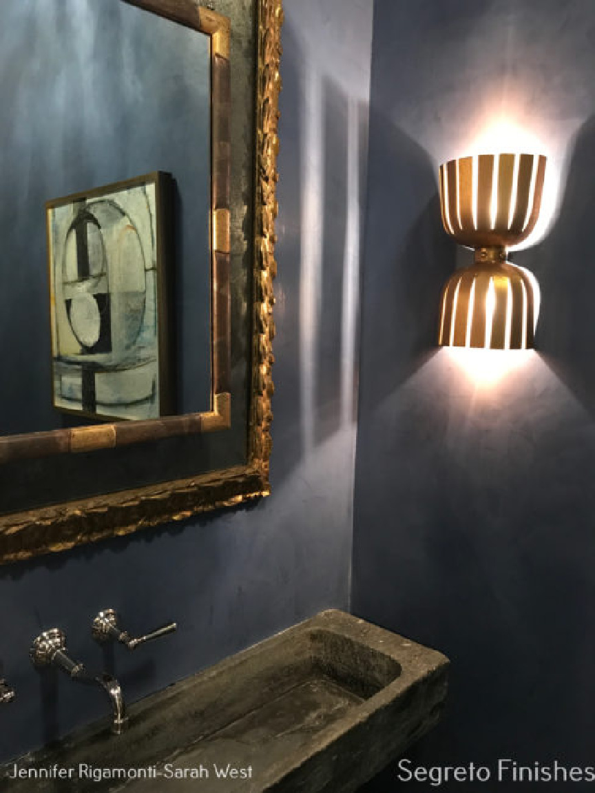 Dramatic Old World bathroom with Segreto Finishes (beautiful wall colors and plaster) in a lovely designed room in Leslie Sinclair's book. #plasterwalls #segretofinishes #frenchcountry