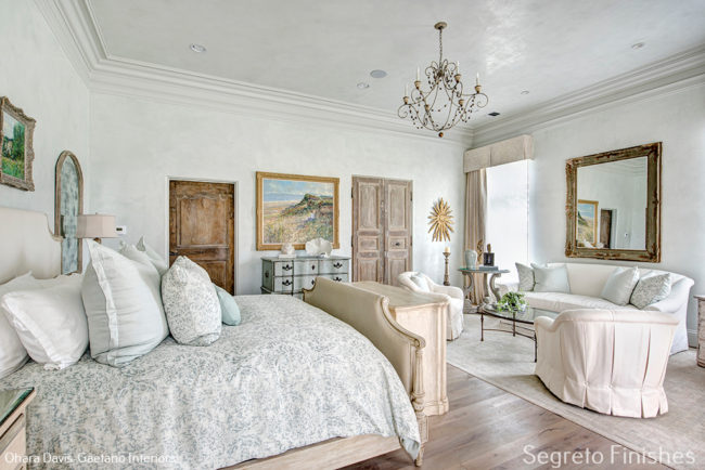 Romantic French Country bedroom with plaster walls and ceiling finished by Segreto