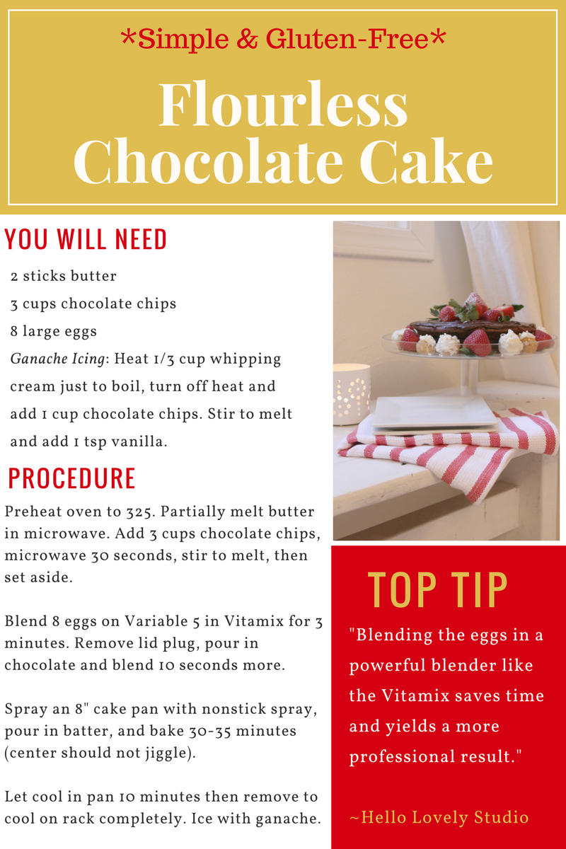 Easy recipe for flourless chocolate cake gluten free - Hello Lovely Studio