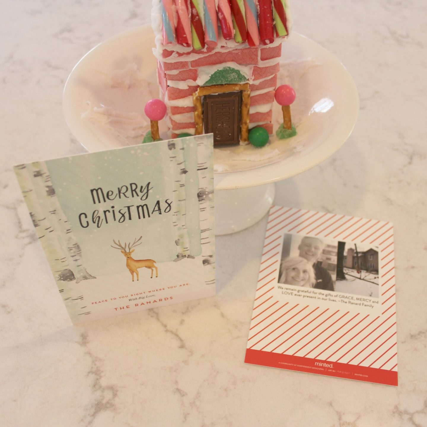 Peaceful Forrest holiday card from Minted with my pink gingerbread house - Hello Lovely Studio
