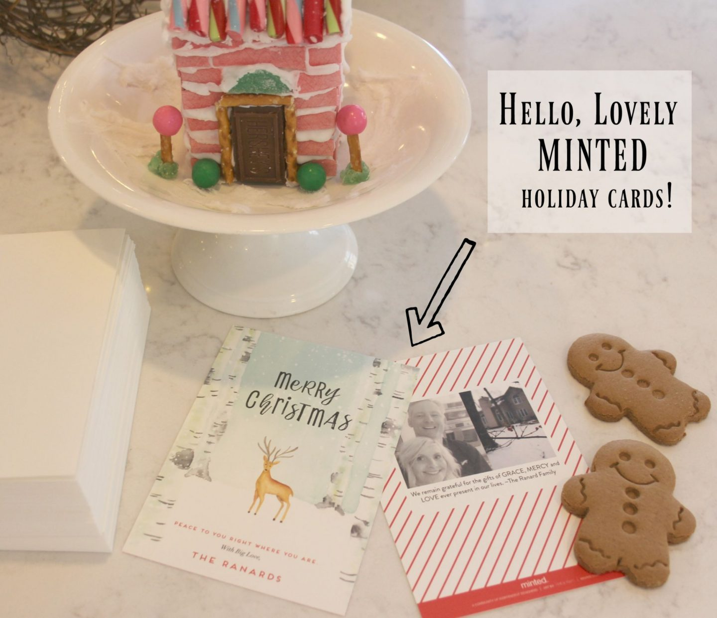 Peaceful Forrest holiday card from Minted and my pink gingerbread candy house - Hello Lovely Studio
