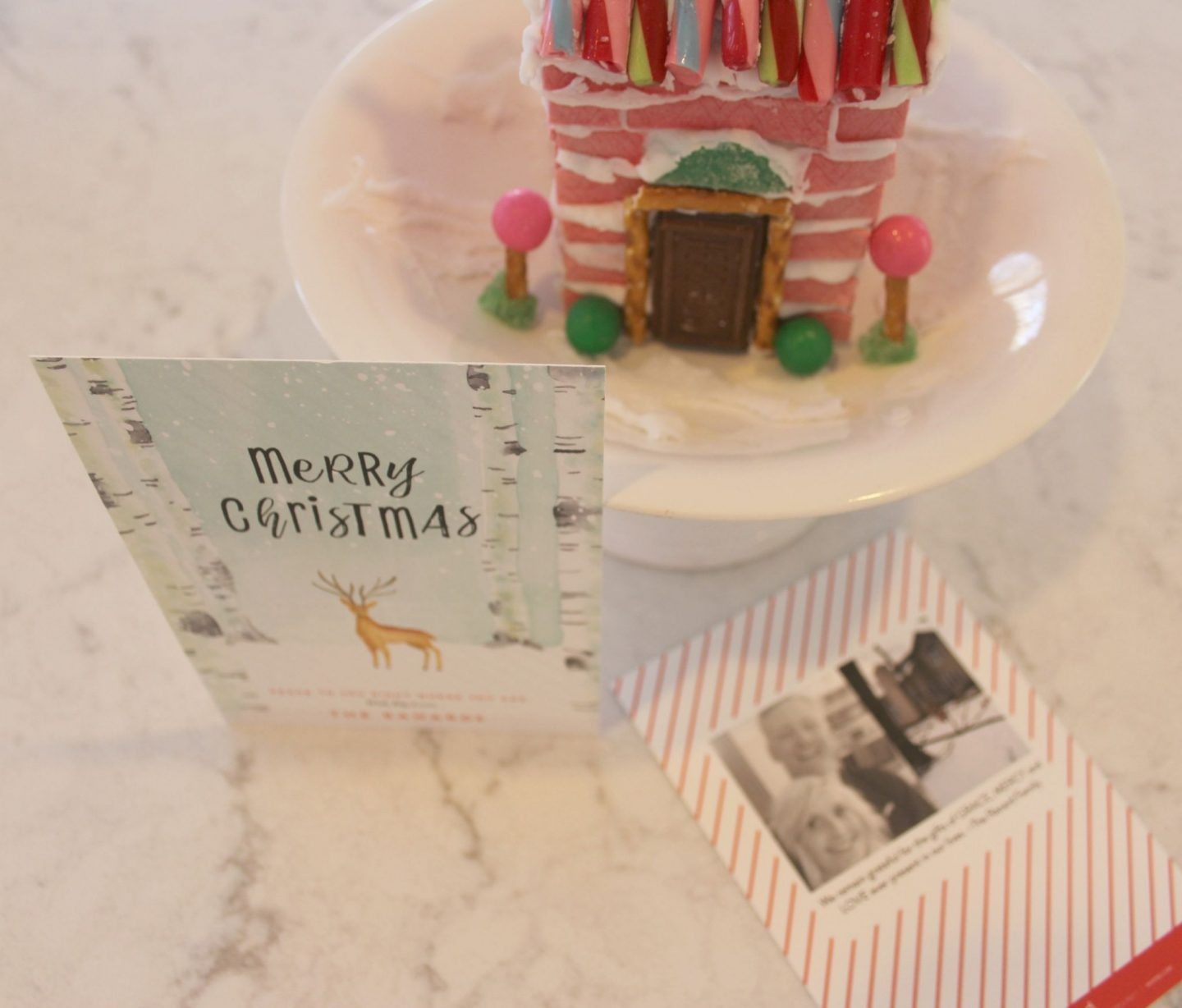 Peaceful Forrest holiday card from Minted and my pink gingerbread gum house - Hello Lovely Studio