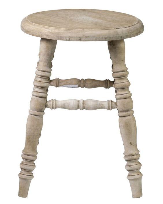 Teak farmhouse style bench with turned wood legs. #rusticdecor #farmhouse