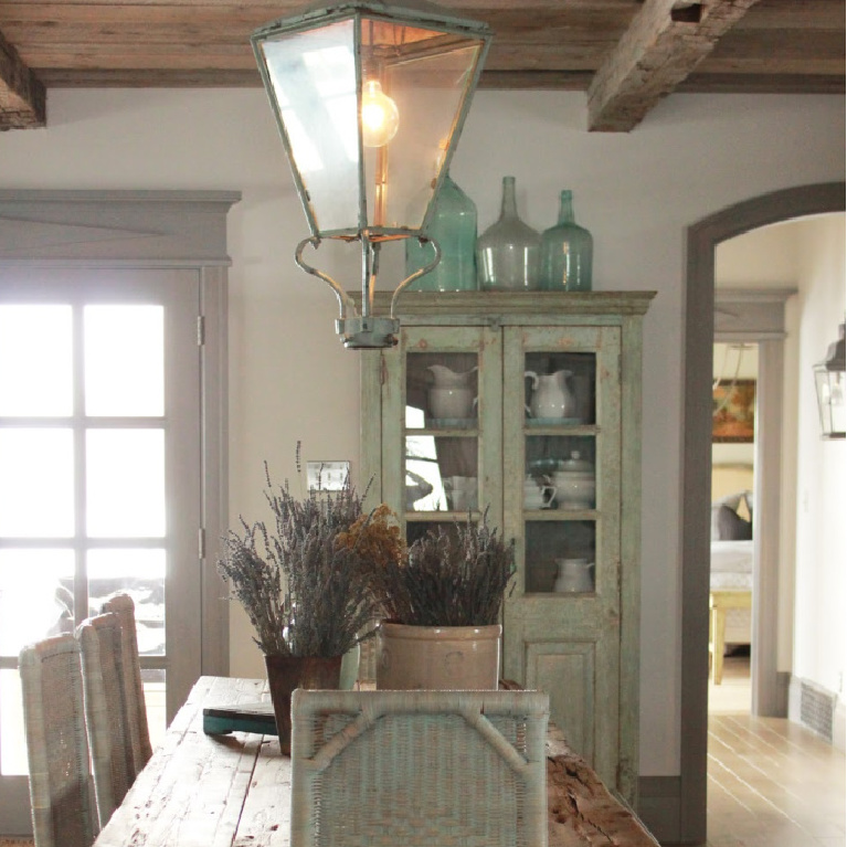 Rustic dining in Country French Old World style in a newly built custom cottage home in Utah - Decor de Provence. #countryfrench #interiordesign #oldworldstyle #europeancountry