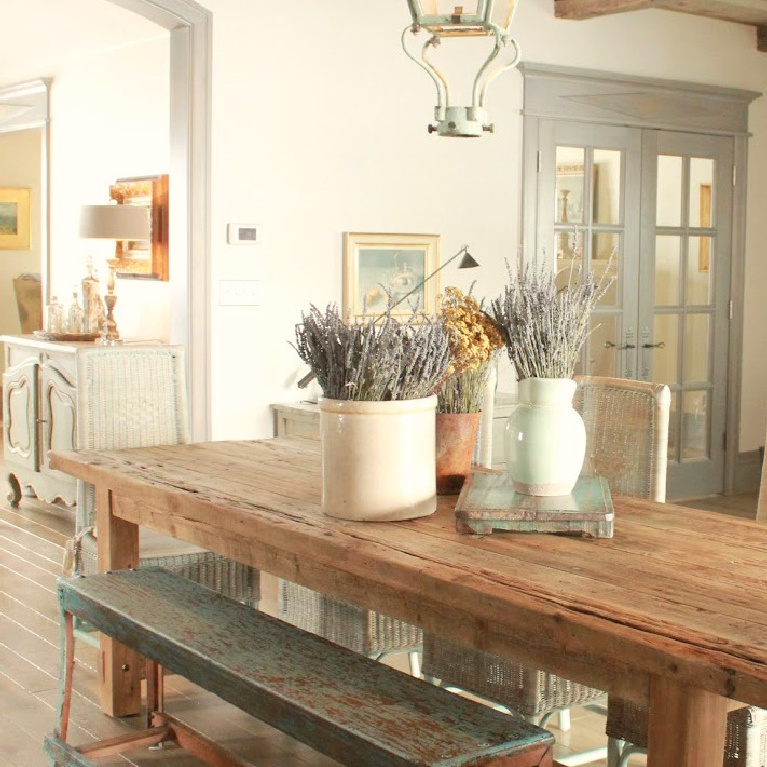 Blue greys and greens in a Country French Old World style in a newly built custom cottage home in Utah - Score decorating ideas with blue & green from Decor de Provence.  #countryfrench #interiordesign #oldworldstyle #europeancountry