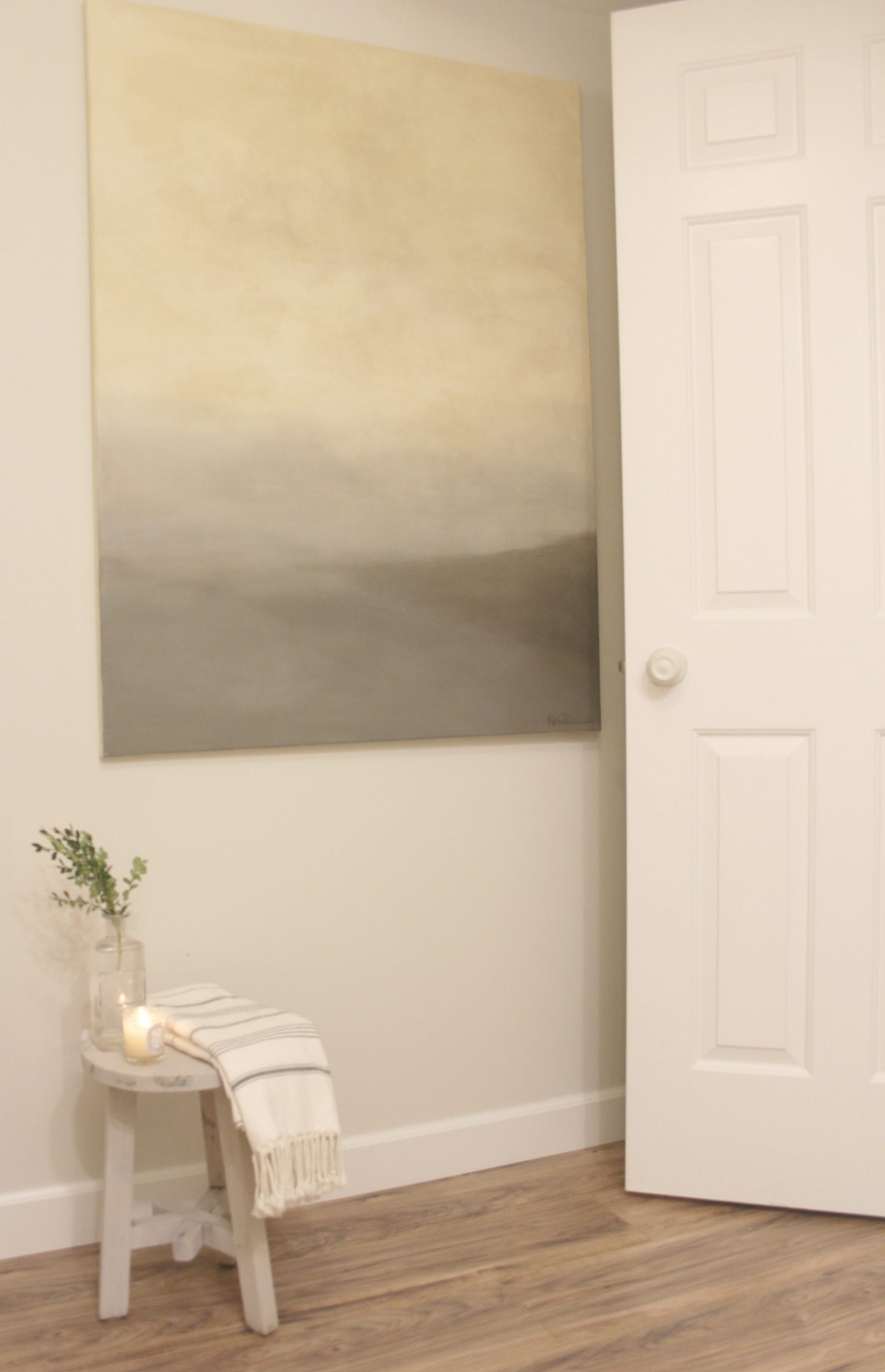 Classic Gray by Benjamin Moore paint color on wall with abstract landscape. #hellolovelystudio #classicgray #tranquilroom